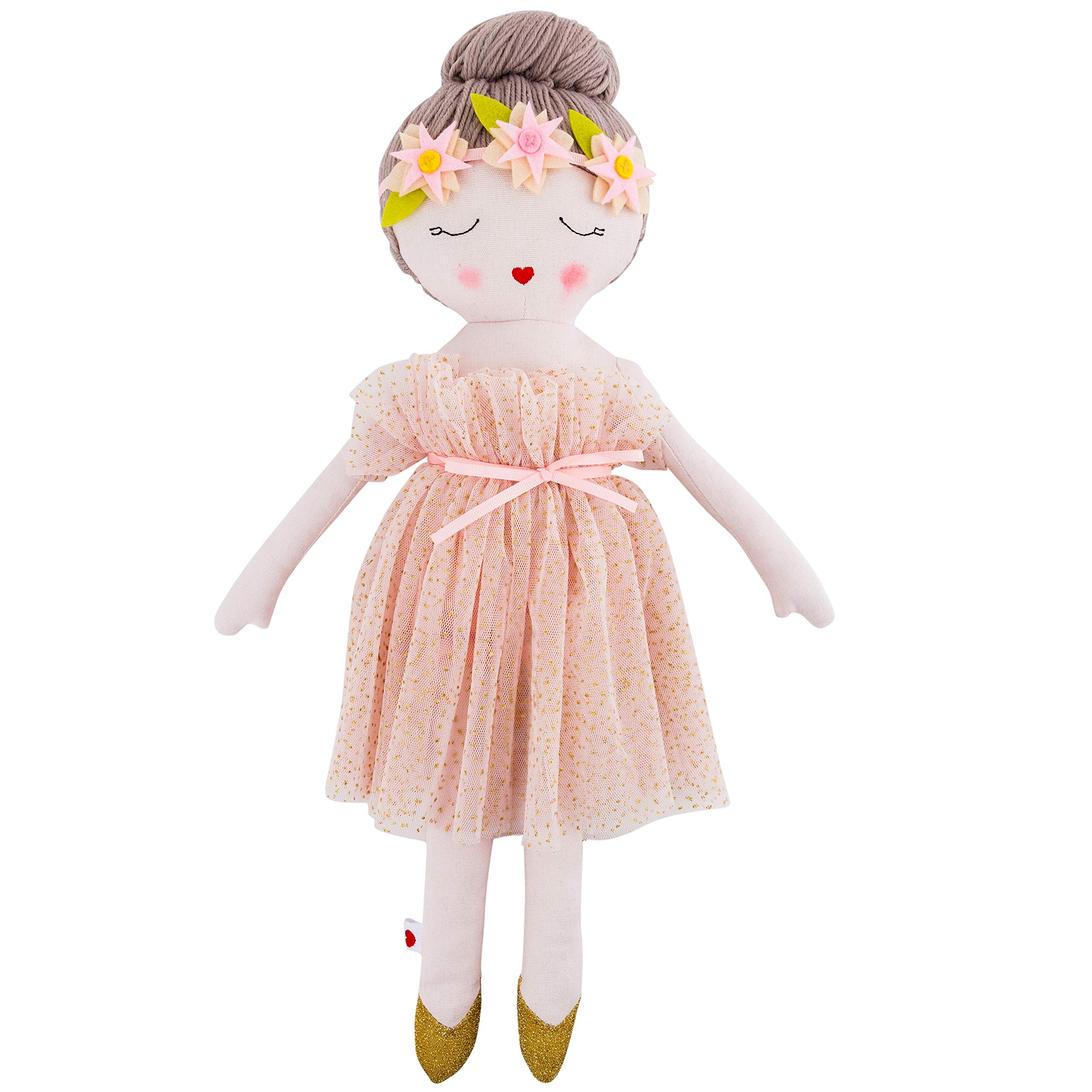 Hearts of Yarn Plush Madeleine Ballerina Doll For Girls Soft Sleeping Cuddle Buddy For Toddlers, Infants and Babies 19 inches Tall Extra Large, Handmade First Baby Doll and Toy Cute Nursery Room Decor by Hearts of Yarn