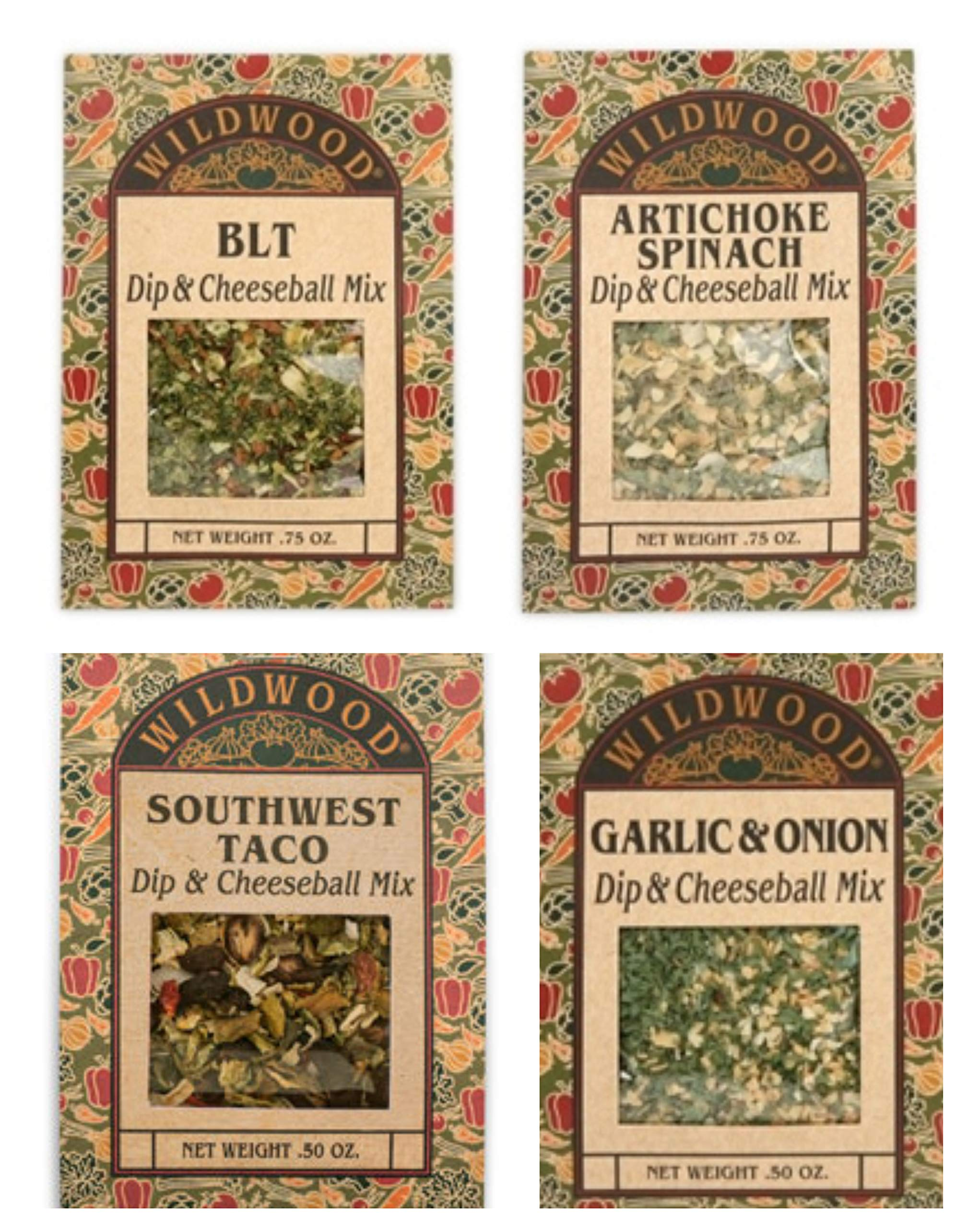 Wildwood Dip & Cheeseball Mix Bundle (4 Pack): Artichoke Spinach, Garlic & Onion, BLT, and Southwest Taco by Wildwood Specialty Foods