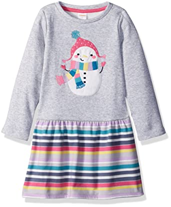 e8b30bcec0663 Amazon.com: Gymboree Girls' Toddler Long Sleeve Fleece Dress Snowman:  Clothing