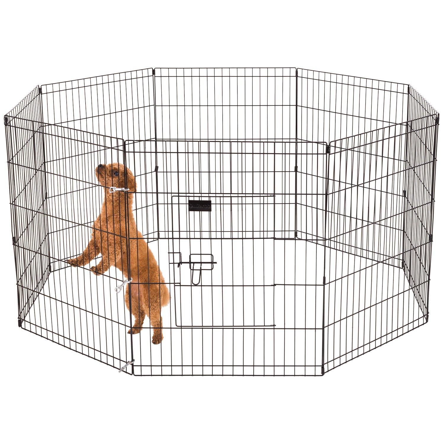 Ollieroo Dog Playpen Exercise Pen Cat Fence Pet Outdoor Indoor Cage 8 Panel Black E-Coat