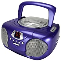 CD Player for Kids Boombox for Children Portable Players Ghetto Blaster with Radio for Girls or Boys. Compatible with MP3 Players, iPhone, iPad, iPod Via AUX (Purple)