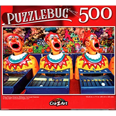 Ping Pong Clowns Midway Carnival Games - 500 Pieces Jigsaw Puzzle: Toys & Games
