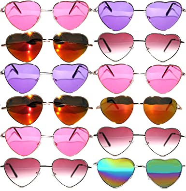 ff05cbceb4 Stylish Heart Shaped Metal Frame Aviator Colored Lens Sunglasses 12 Pack