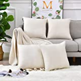 Pack 4, Linen Throw Pillow Covers Set Cushion Case for Sofa Bedroom Car, Blank for HTV Iron on Design,18x18 Inch, Light Linen