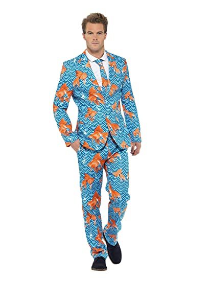 Smiffys-43530M Miffy Traje Pez de Colores, con Chaqueta, Pantalones y Corbata Azul, M-Tamaño 38