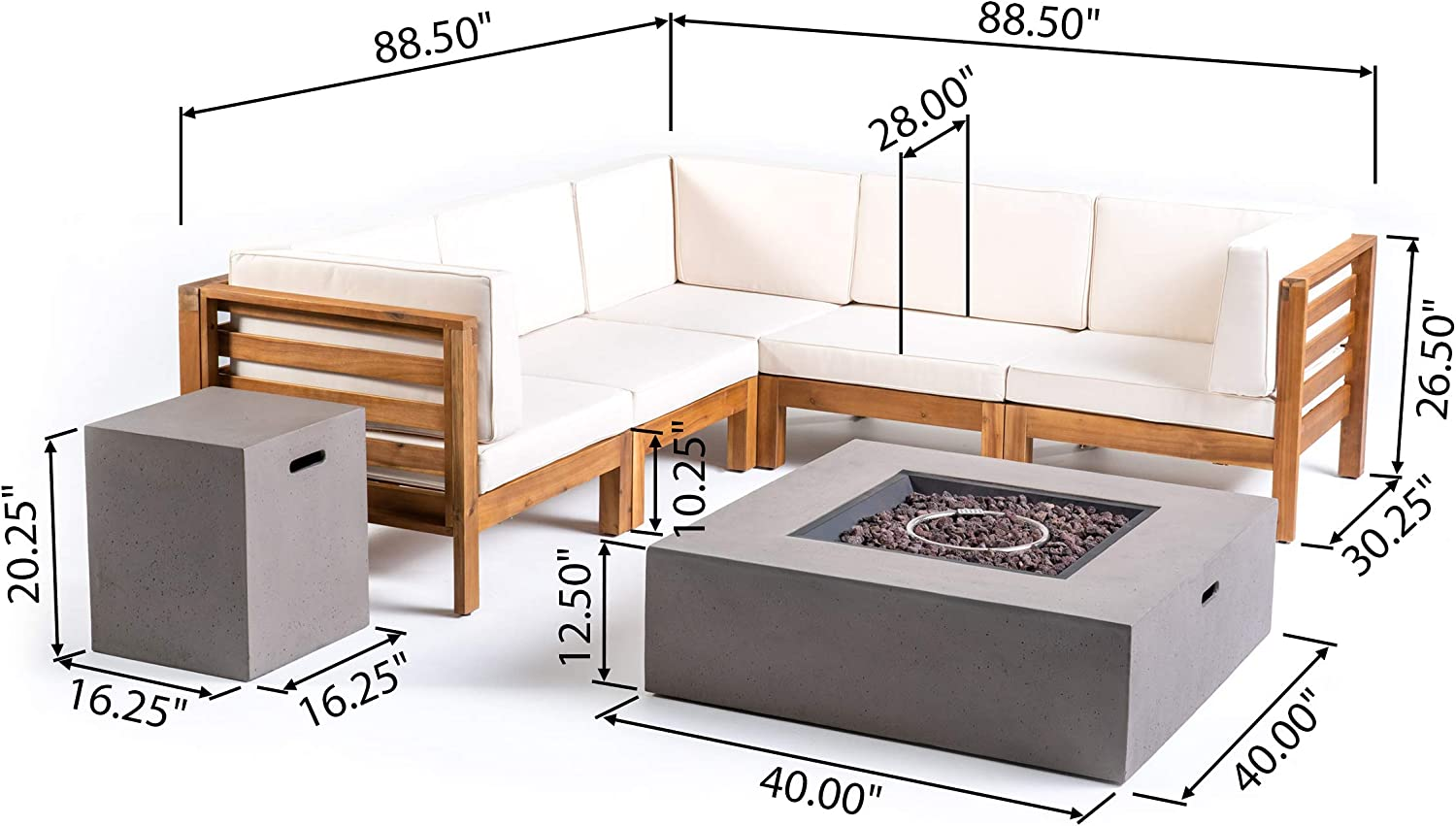 7-Piece 5-Seater Acacia Wood Outdoor Cushions Gray and Dark Gray Great Deal Furniture Xanthe Outdoor V-Shaped Sectional Sofa Set with Fire Pit