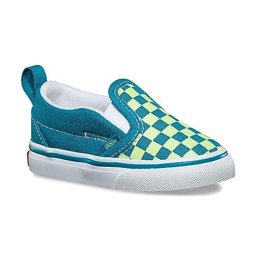 Vans Toddler Slip-On V (Checkerboard) Enamel Blue Sharp Green VN0A3488U4V  Toddler 747774b24
