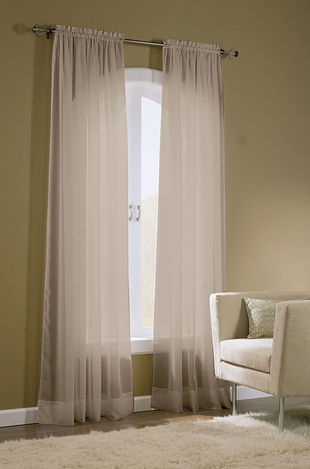 Taupe 259702 Easy Care Fabrics 2-Piece Sheer Window Curtains Drapes Panel Treatment 58 by 63-Inch