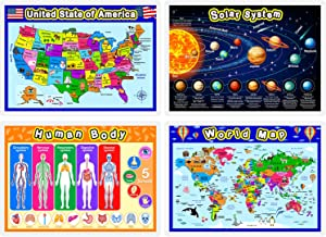 Fully Laminated Preschool Educational Posters for Kids and Toddlers, Nursery Homeschool Pre-K Kindergarten (4 Pieces, World Map, USA Map, Solar System, Human Body)