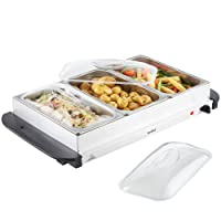 VonShef Buffet Server, Hot Plate & Warming Tray – Keeps Food Warm for Longer – Adjustable Temperature Control, Cool Touch Handles