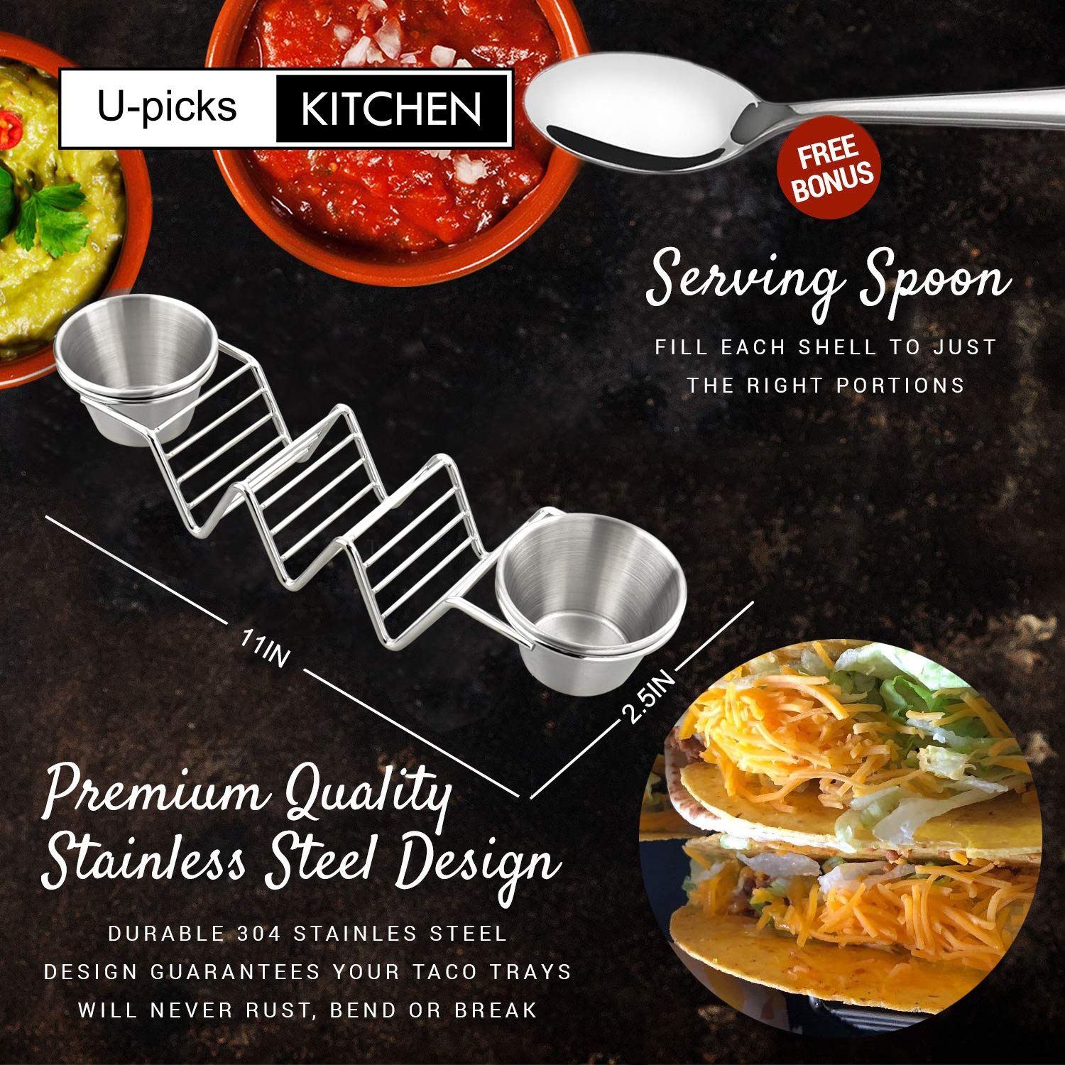 Upgrade Taco Shell Stand Up Holders-4 Pack Premium Stainless Steel Taco Holder with 8 Salad Cups & 4 Spoons,Holds 3 Tacos Each Keeping Shells Upright & Neat by U-picks (Image #4)