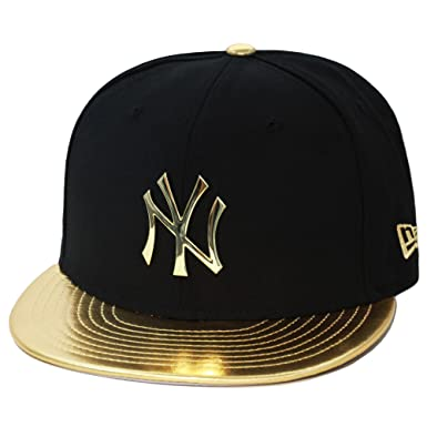 5367ae0d600 New Era New York Yankees Fitted Hat Black Gold Faux Leather Metal Badge (
