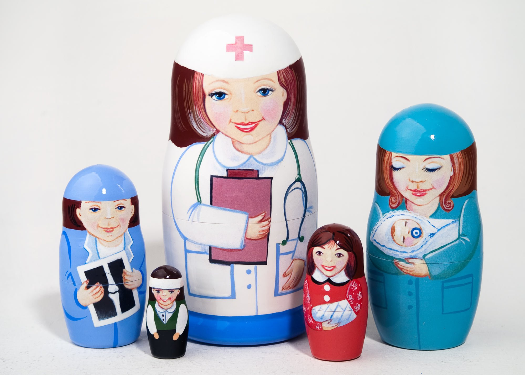 Nurse 5-piece Russian Wood Nesting Doll