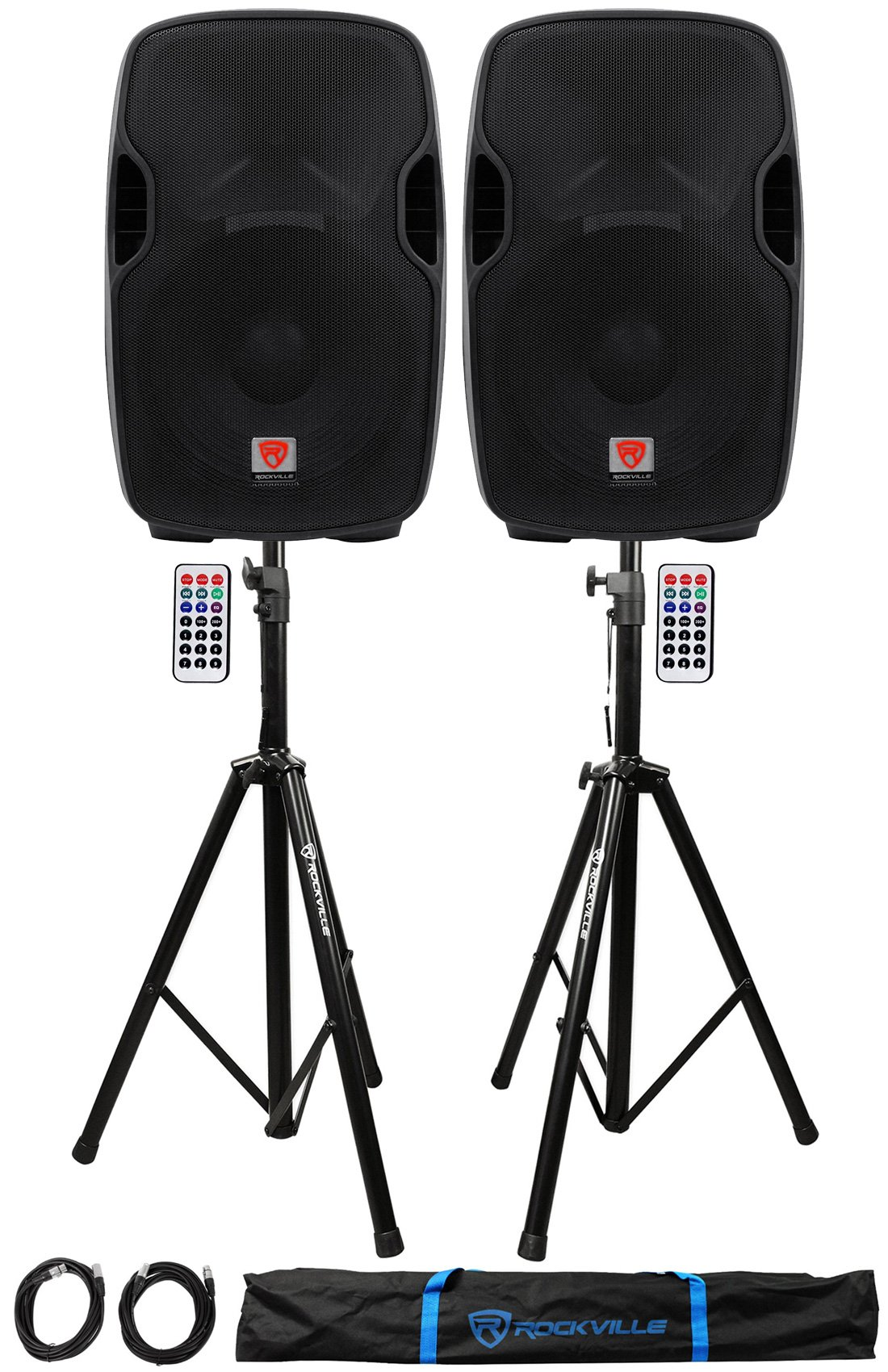 Package: (2) Rockville BPA15 15'' Active DJ/PA Speakers Totaling 1600 Watt + Pair of Rockville RVSS2-XLR Heavy Duty Adjustable Pro PA Speaker Stands + (2) 20' XLR Cables + Carrying Case