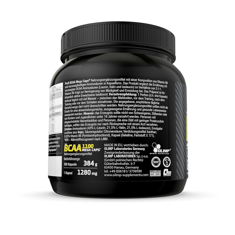 Olimp BCAA Mega Caps 1100, 300 Kapseln, 1er Pack (1 x 384 g): Amazon ...