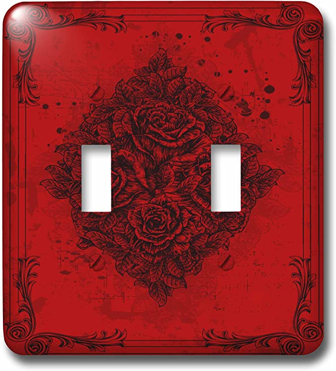 3drose Lsp 78084 2 A Diamond Shape Of Roses With Flourish Frames On Red Double Toggle Switch Switch Plates