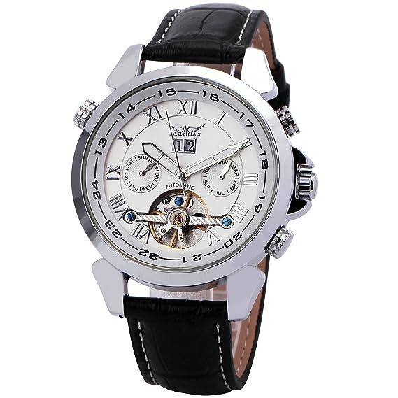 Unisex JARAGAR Tourbillon mecánico automático reloj de los hombres de la correa de cuero de complejos