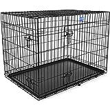 Songmics 2 Portes Cage pour chien pliable et transportable avec Poignées et Plateau noir 106 x 70 x 77,5 cm PPD42H