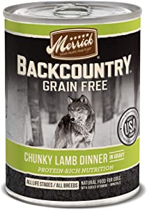 Merrick Backcountry Grain Free Wet Dog Food Chunky Beef Dinner in Gravy - (12) 12.7 oz Cans
