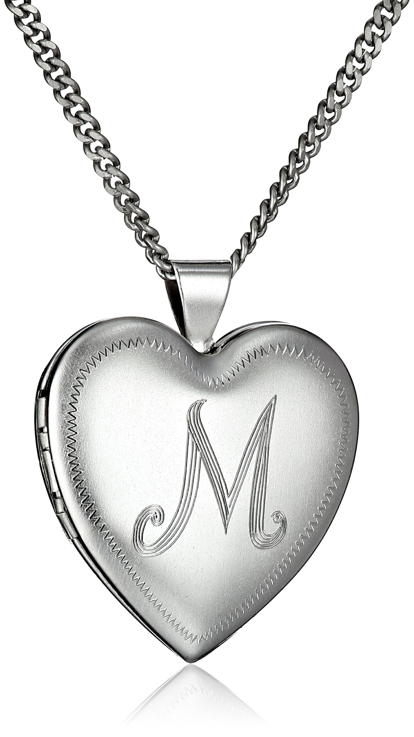 Rhodium-Plated Initial''M'' Heart 26mm (1'') Locket Necklace, 24''