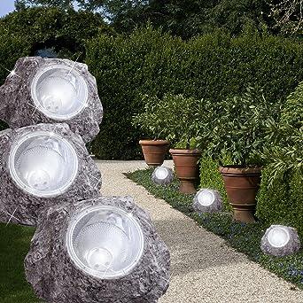 Mia Light piedra solar lámpara Ø165 mm/LED/gris/piedra/lámpara decoración jardín exterior exterior lámpara exterior lámpara suelo Proyección suelo de jardín jardín lámpara solar Bombilla Solar lámpara: Amazon.es: Iluminación