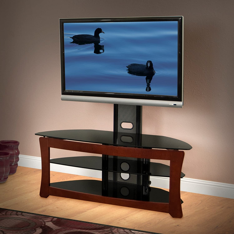 Oscuro Espresso Acabado soporte para televisor con soporte de pared y estantes abiertos: Amazon.es: Electrónica