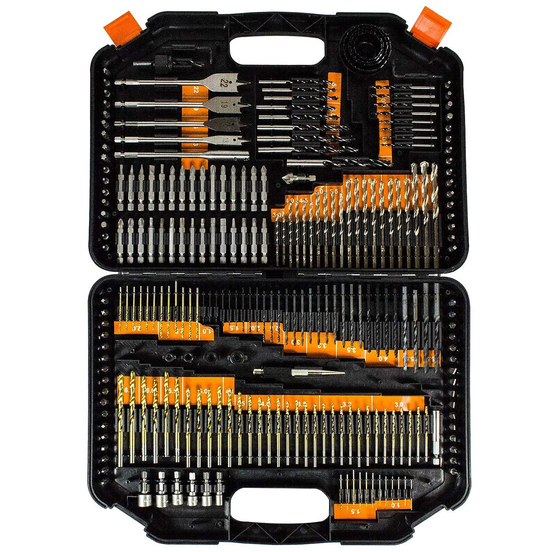 Terratek 246pc Combination Drill Bit Set Masonry Drill Bits Includes HSS Titanium Twist Drill bits Screwdriver Bits /& More in Storage case Wood Drill Bits