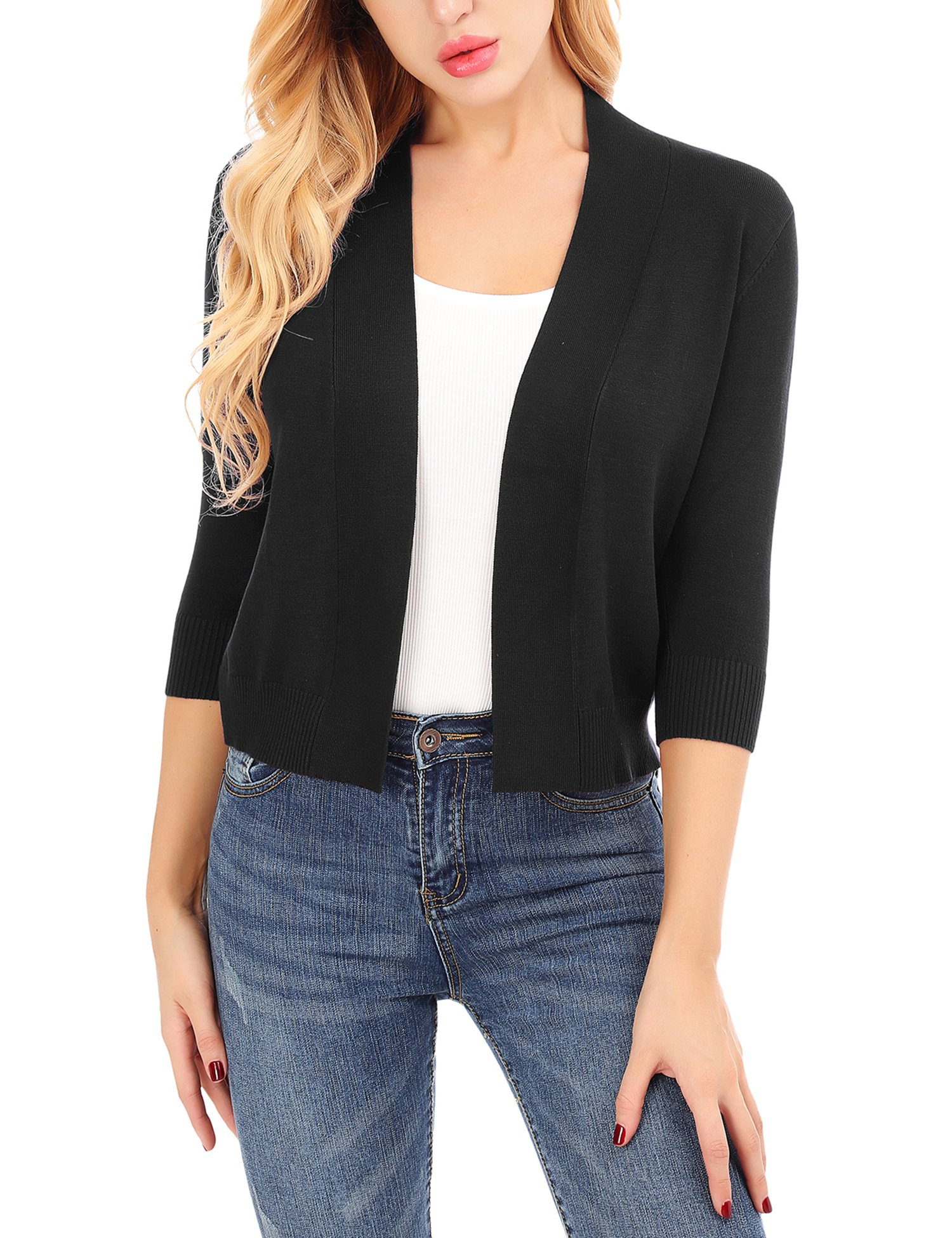 Uniboutique 3/4 Sleeve Open Cardigans Bolero Shrug for Women Soft Stretchy