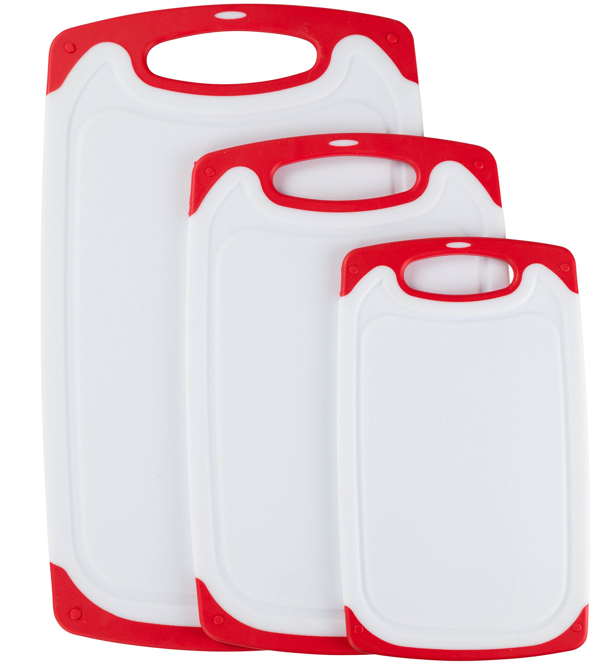 Premium Plastic Cutting Board Set By Wahilulu - 3 pc Non-Slip Kitchen Essential Chopping Board Kit - Dishwasher Safe - Non-Slip Rubber Ends & Handles - Anti-Drip Juice Groove Lip (Large, Red)