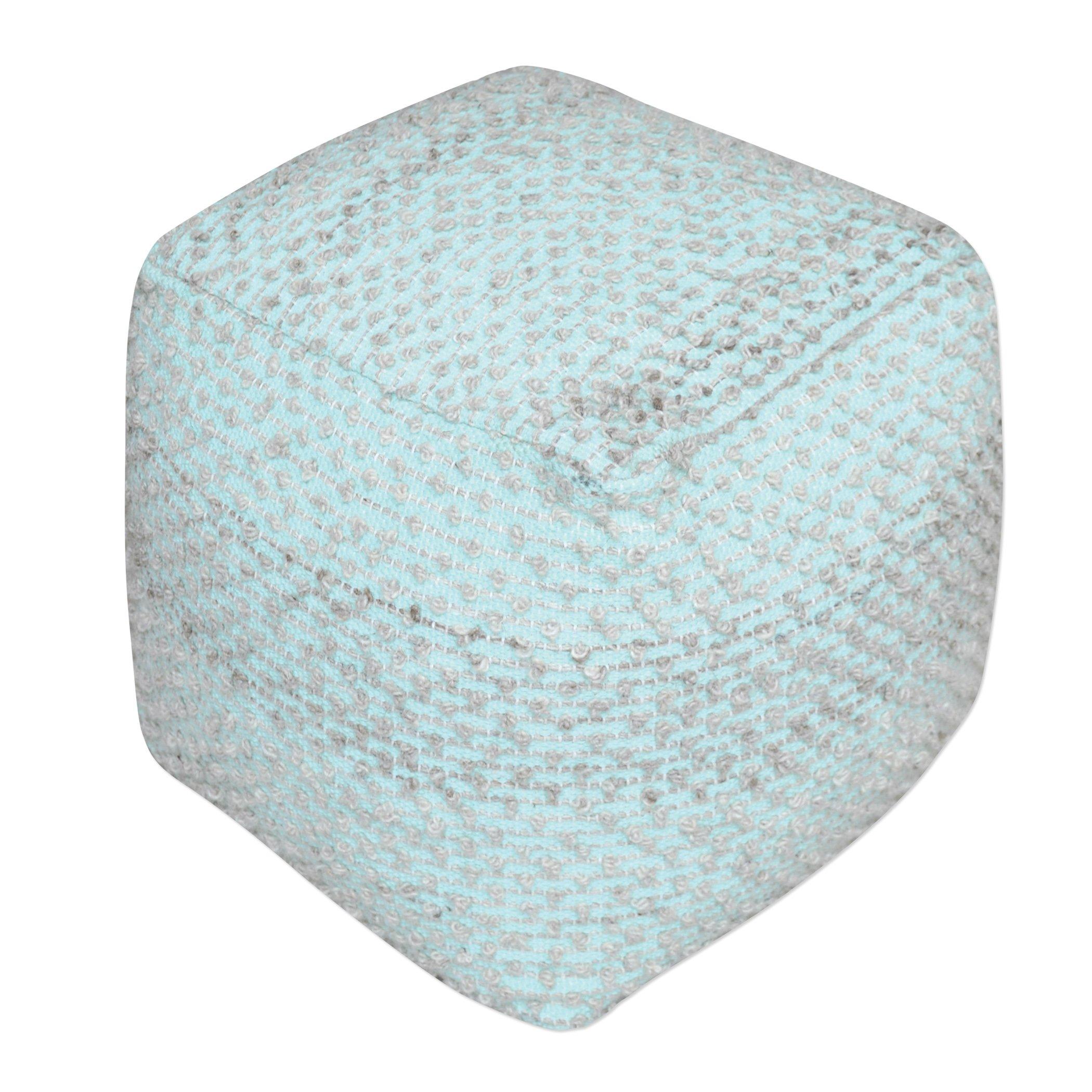 Aqua Turquoise Cotton Cube Pouf | Plush Ottoman Fabric Blue Seat Square Wool