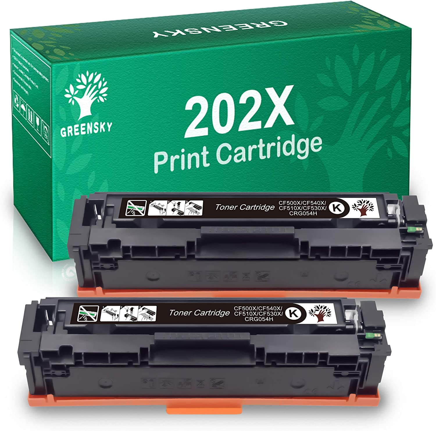 GREENSKY Compatible Toner Cartridges Replacement for HP 202X CF500X for Color Laserjet Pro MFP M281fdw M281cdw M254dw M254dn M254nw (2-Black)