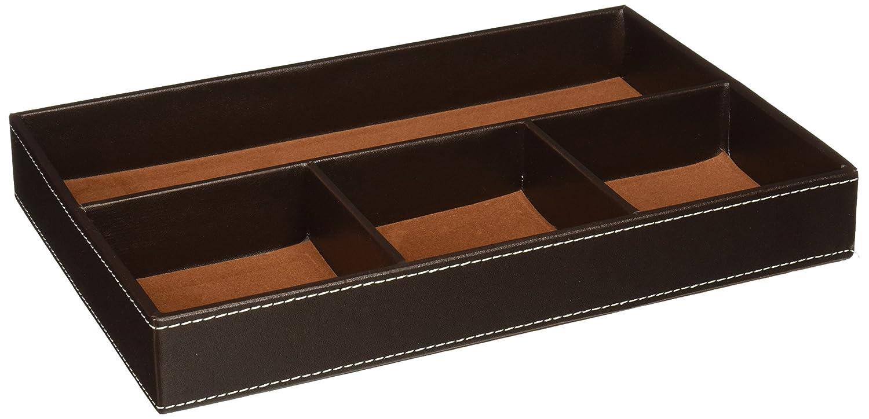 Unionbasic piatto 4-slot Leather Drawer Tray Desk Stationery Sundries gadget organizer Storage box Pen Pencil Holder case Container Black