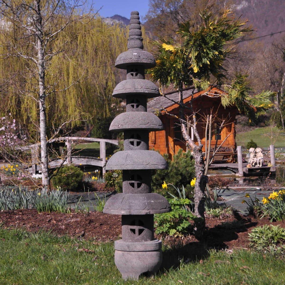Wanda collection Linterna Japonesa Pagoda Zen de Piedra de Lava 1,50 m: Amazon.es: Jardín