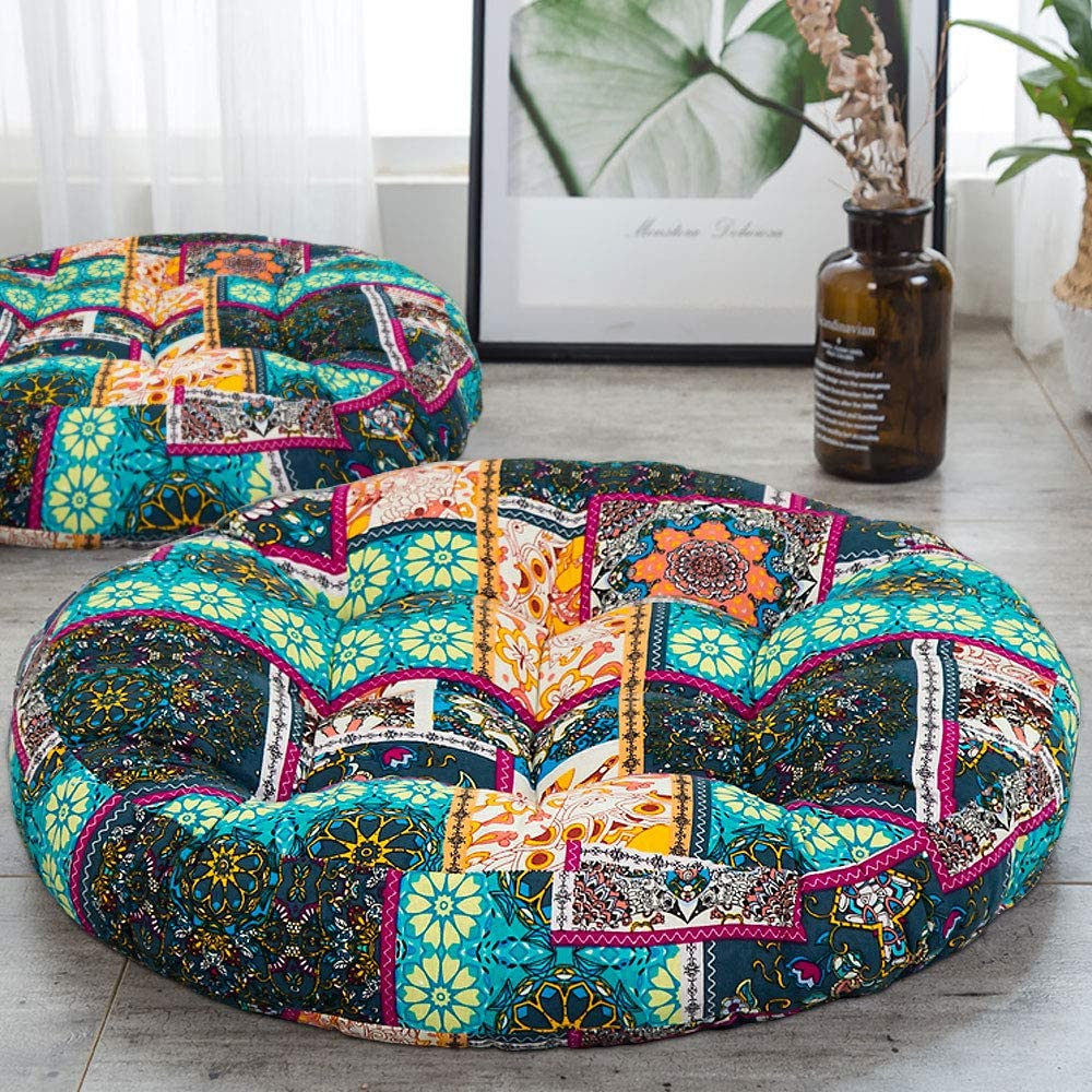 HIGOGOGO Turquoise Meditation Pillow for Floor, Round Bohemian Seat Cushion Thick Cotton Linen Pouf India Mandala Boho Style Yoga Pillow for Living Room Kids Playing Room Party Decoration, 22 Inch