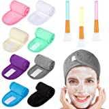 Whaline 8 Pack Multicolor Spa Makeup Headband with 3Pcs Silicone Face Mask Brush, Facial Headbands Hair Towel Wrap with Magic Tape and Body Butter Applicator Tools for Wash Face,Bath,Shower and Sport