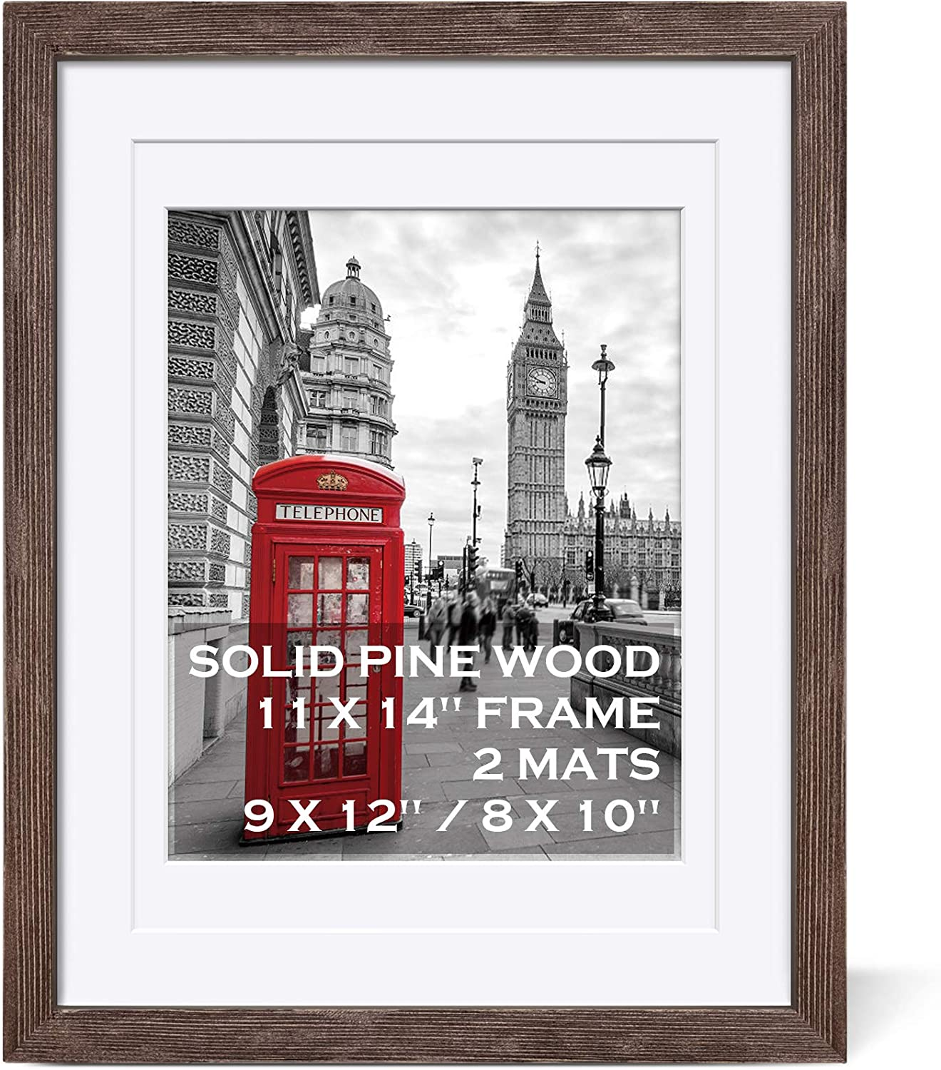 11x14 Rustic Picture Frames Solid Wood Distressed Brown Display Picture 9x12 or 8x10 with Mat or 11x14 Frame without Mat - Farmhouse Wooden Photo Frame 11x14 with 2 Mats for Wall Mounting or Table Top