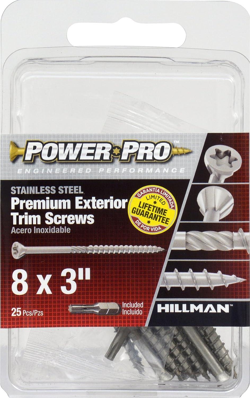 20 Pack HILLMAN FASTENERS 42509 Stainless Steel Trim Screw 8 x 3