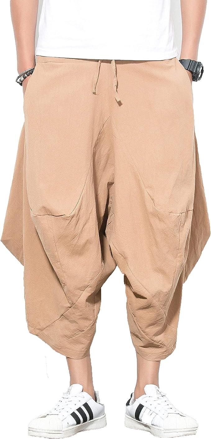 Plain Pockets Style Elastic Waist Mens Womens Harem Pants Boho Hippie Cotton Lightweight Trousers Pants