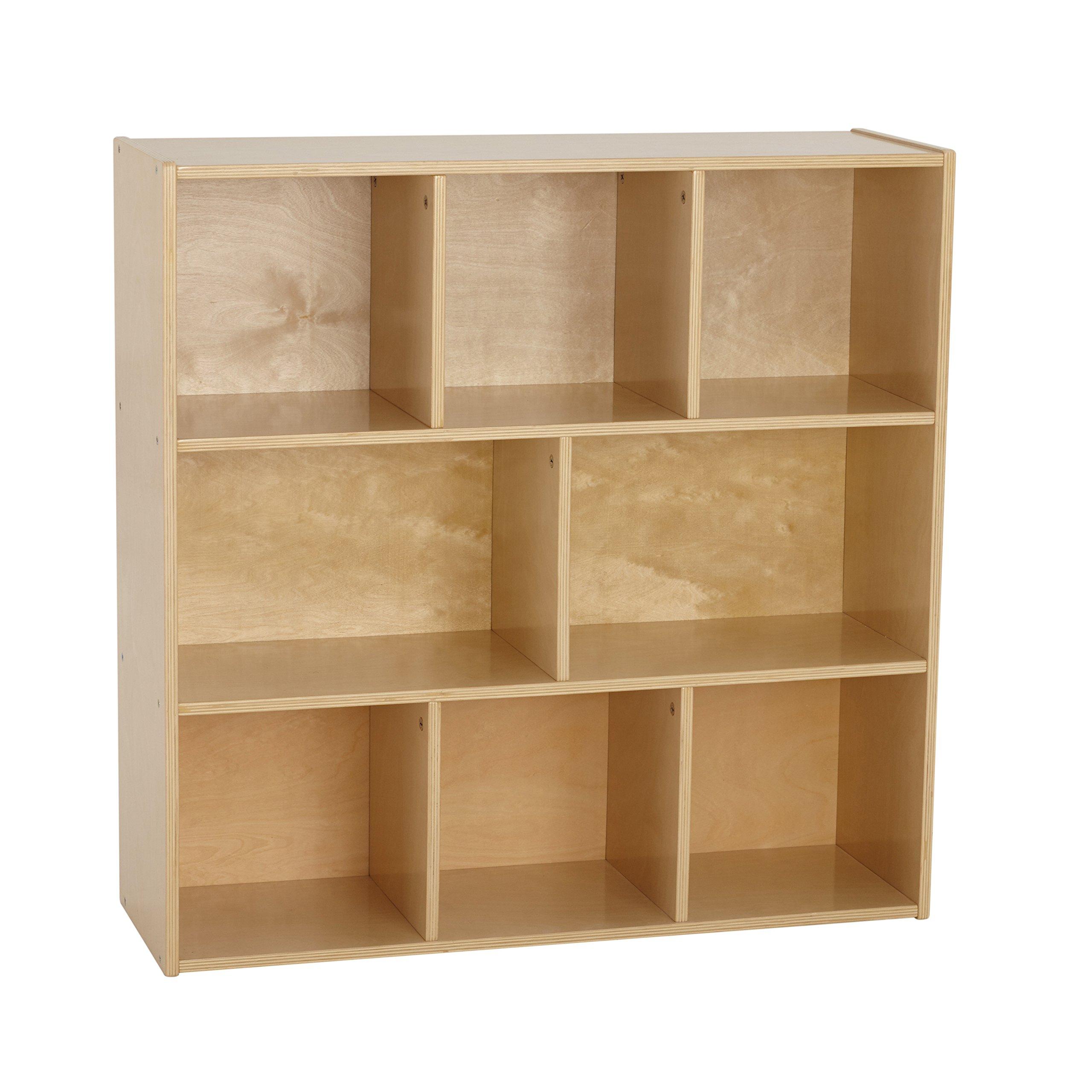 ECR4Kids Birch Wood Streamline 8-Compartment Storage Cabinet, 36 inches high