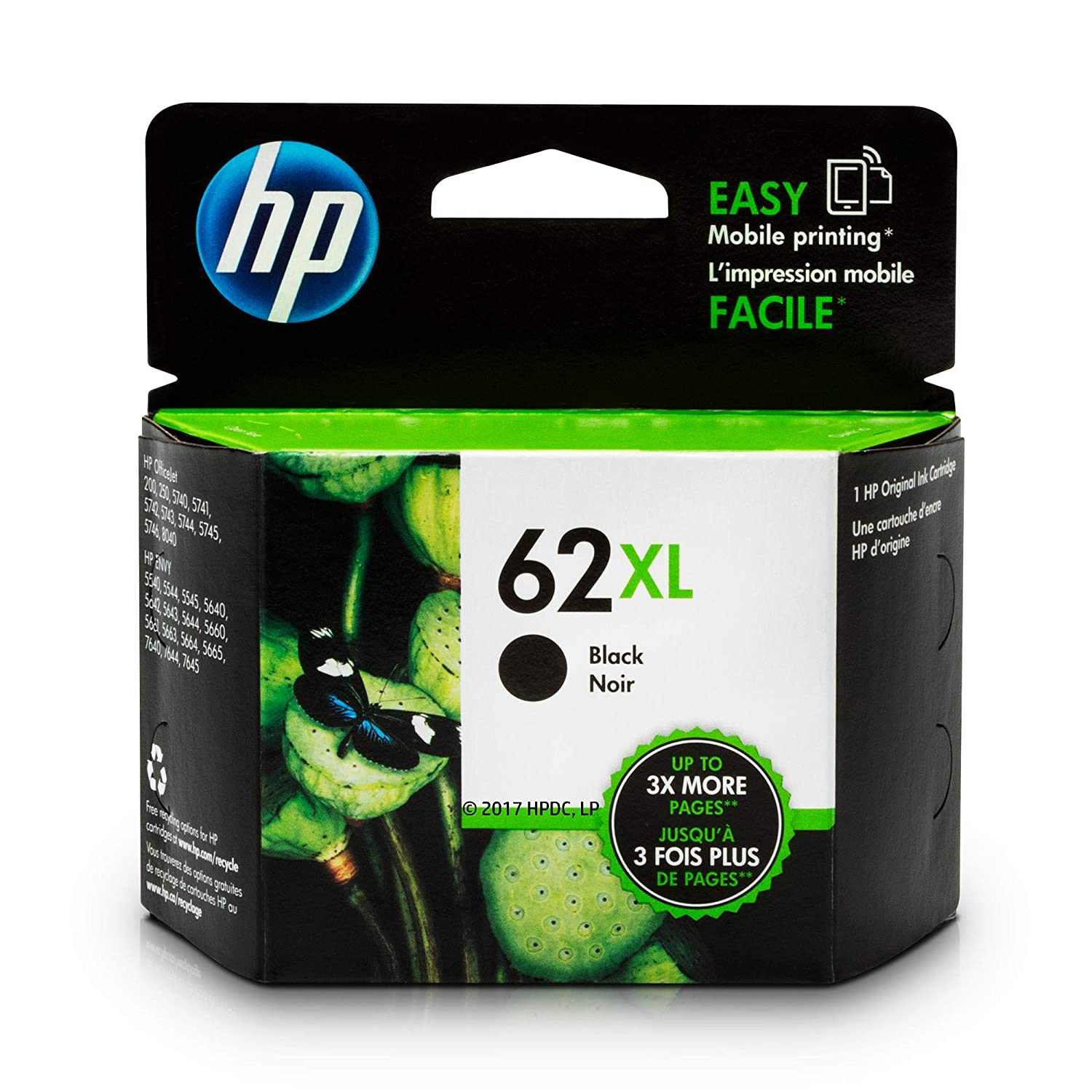 HP 62XL Black Ink Cartridge (C2P05AN) for HP ENVY 5540 5541 5542 5543 5544 5545 5547 5548 5549 5640 5642 5643 5644 5660 5661 5663 5664 5665 7640 7643 7644 7645 HP Officejet 200 250 258 5740 5741