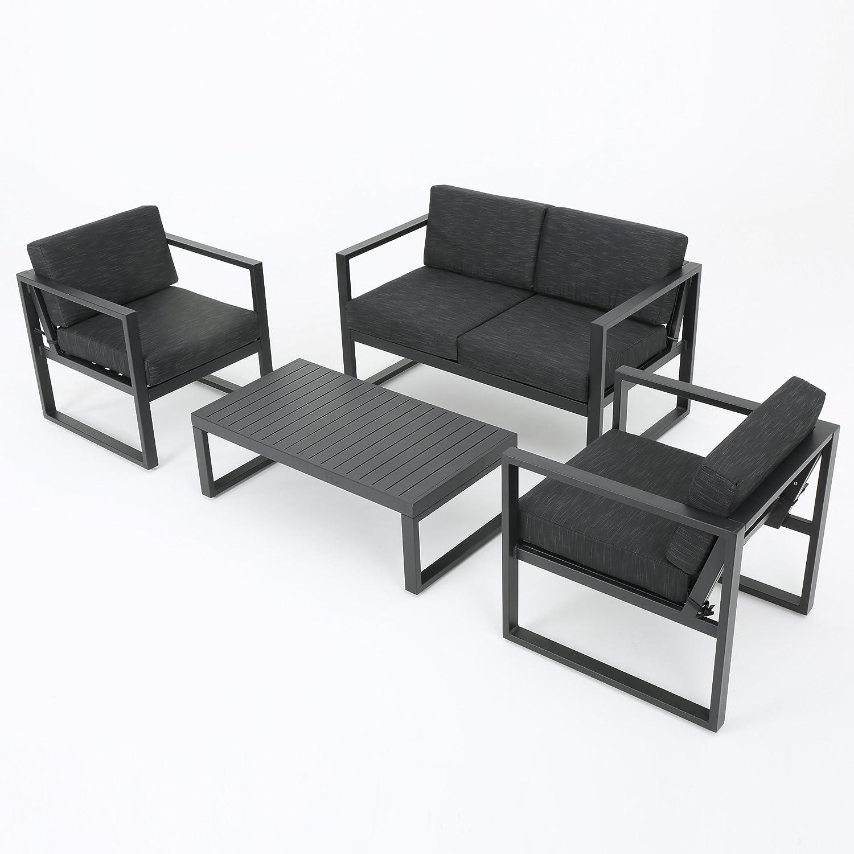 Amazon Nealie Patio Furniture 4 Piece Outdoor Aluminum Chat
