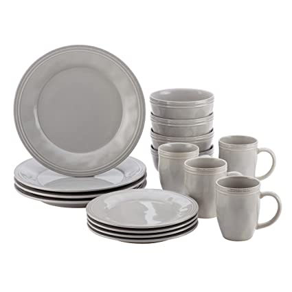 Rachael Ray Cucina Dinnerware 16-Piece Stoneware Dinnerware Set Sea Salt Grey  sc 1 st  Amazon.com & Amazon.com: Rachael Ray Cucina Dinnerware 16-Piece Stoneware ...