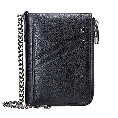 Contacts RFID Mens Genuine Leather Double Zipper Pocket Bifold Coin Wallet with Anti-Theft Chain
