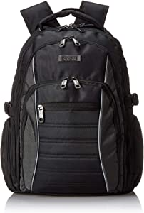 "Kenneth Cole Reaction No Looking Back 1680d Polyester Triple Compartment 17.3"" Laptop Backpack, Black"