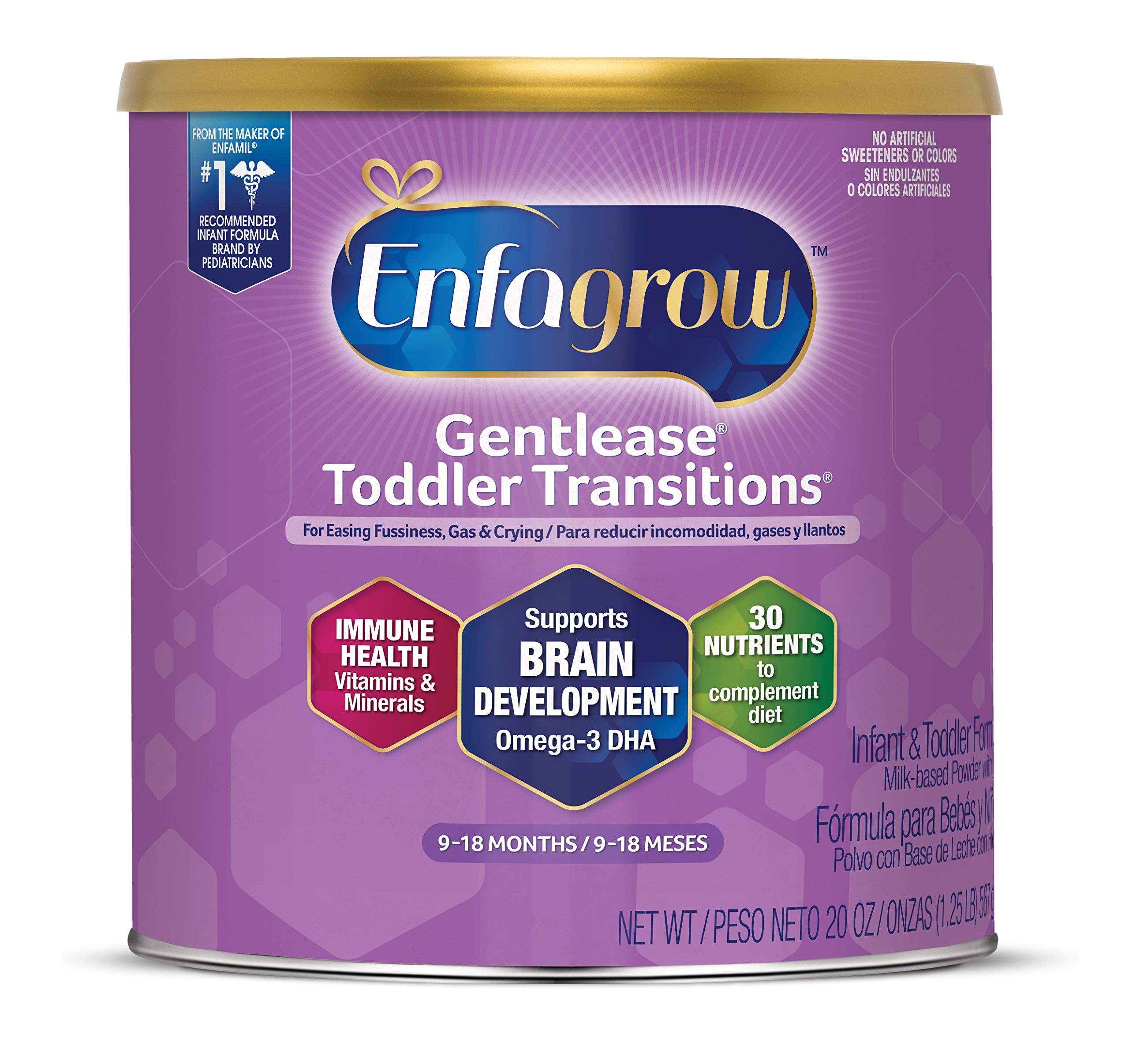 Enfagrow Gentlease Toddler Transitions Gentle Baby Formula Milk Powder, 20 oz Can - For Easing Gas & Crying, Easy-to_Digest Proteins, Omega 3 DHA, Iron, Vitamins & MInerals