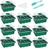 10-Pack Seed Starter Trays Seedling Tray (12 Cells per Tray) Humidity Adjustable Plant Starter Kit with Dome and Base Greenho