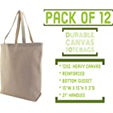 BagzDepot Reusable Grocery Shopping Bags 12 PACK Canvas Heavy Duty Tote Bags Bulk, Kitchen Storage & Organization Product Sets Eco-Friendly Tote Bags 15 X 15 X 3 in, Natural (Natural)