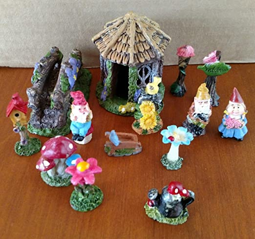 Accesorios de jardín en miniatura de hadas y gnomos – Gnomos, puente de casa, 14 piezas en todos: Amazon.es: Jardín