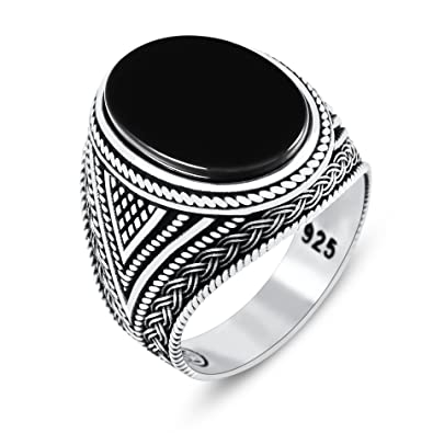 7e8783121e759 Chimoda Mens Rings with Black Onyx Stone in 925 Sterling Silver with  Vintage Eastern Motifs Men's Jewelry