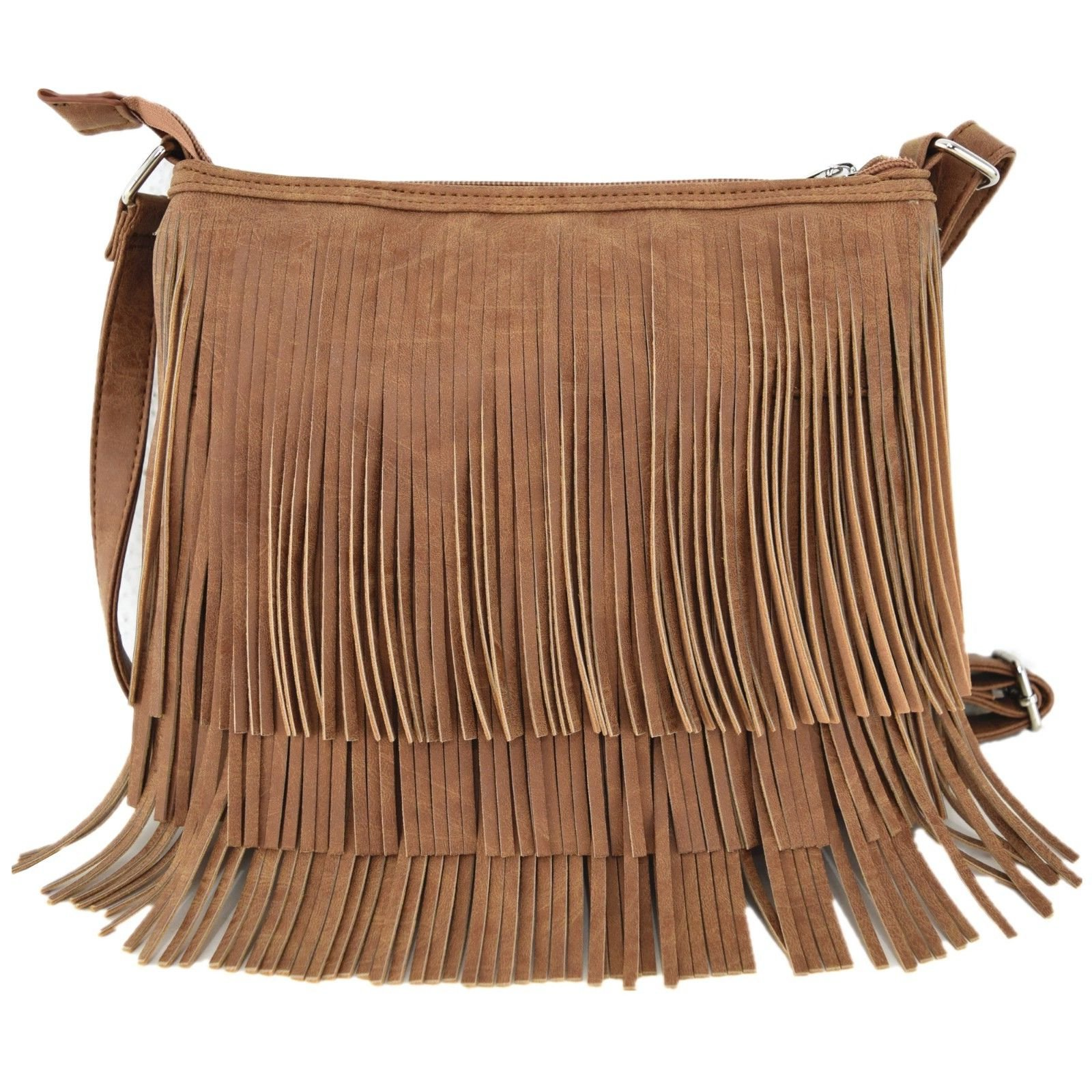 Western Cowgirl Style Fringe Cross Body Handbags Concealed Carry Purse Country Women Single Shoulder Bags (Cognac)